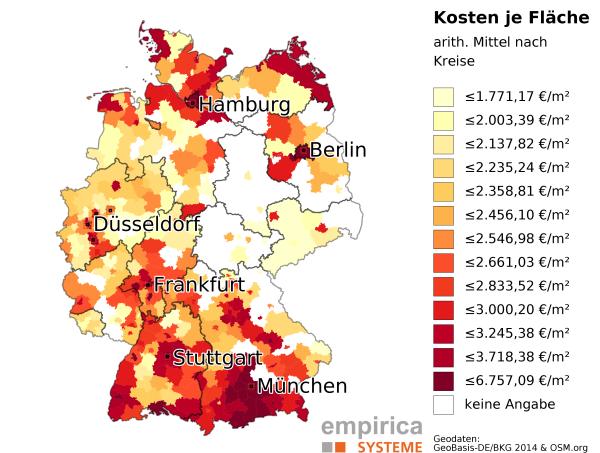 durchschnittliche Kaufpreise für barrierefreie Wohnungen im Januar 2016 (GeoBasis-DE/BKG 2014 & OSM.org, Daten: empirica-systeme Marktdatenbank)