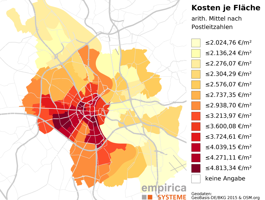 Average prices on postcode-level for Cologne (2015-08 to 2016-02). Foreclosure sales excluded.