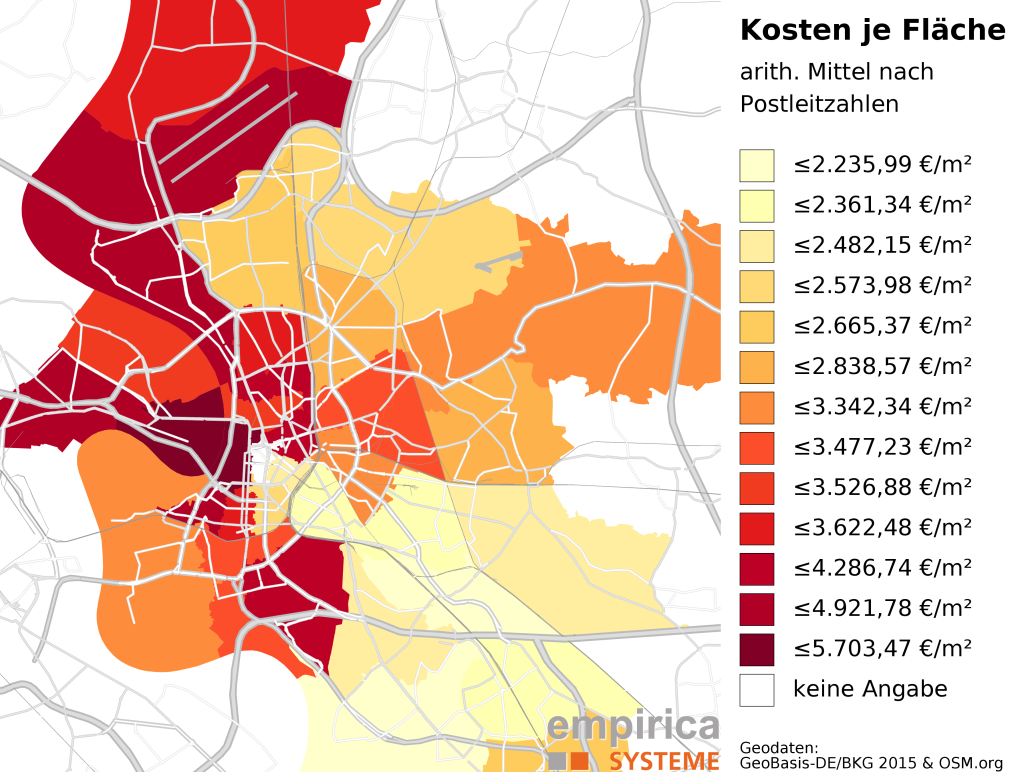 Average prices on postcode-level for Dusseldorf (2015-08 to 2016-02). Foreclosure sales excluded.