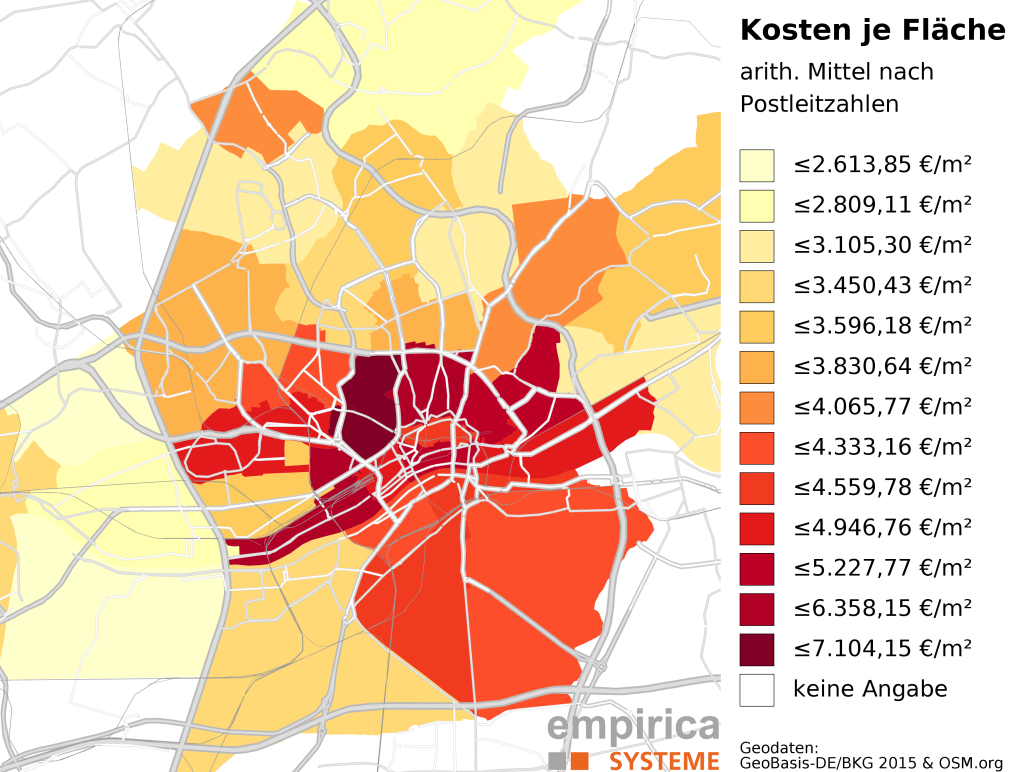 Average prices on postcode-level for Frankfurt (2015-08 to 2016-02). Foreclosure sales excluded.