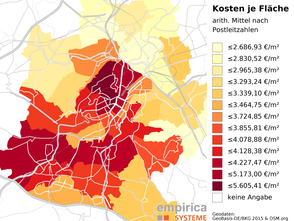 Average prices on postcode-level for Stuttgart (2015-08 to 2016-02). Foreclosure sales excluded.