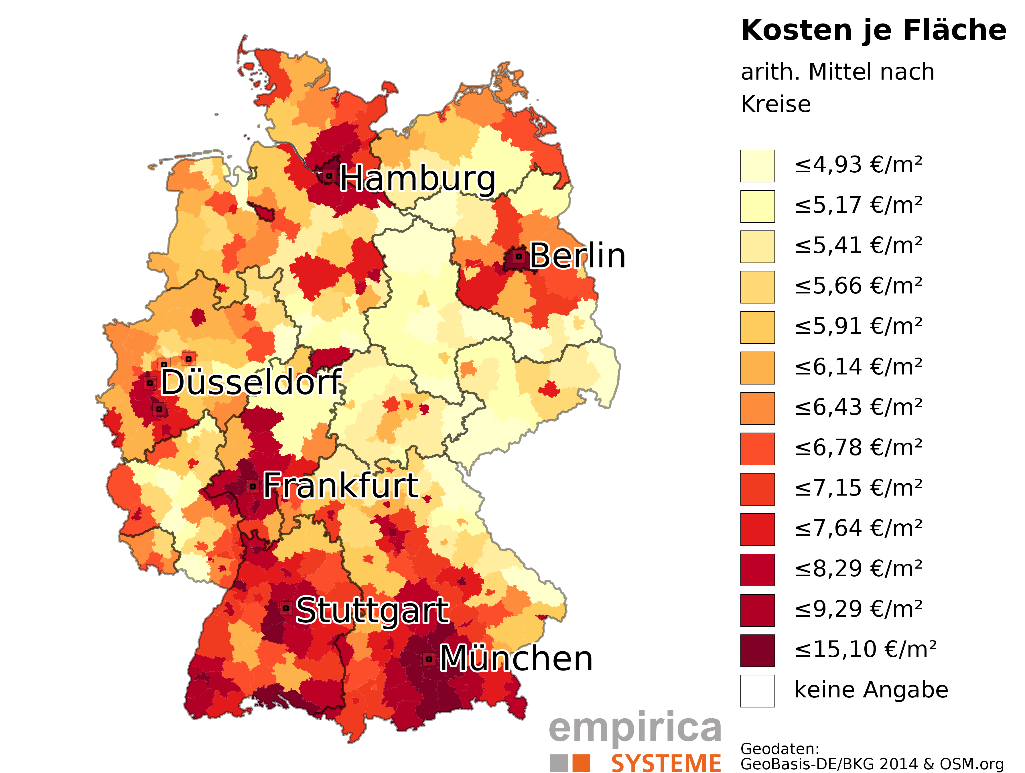 average rents on county level for germany